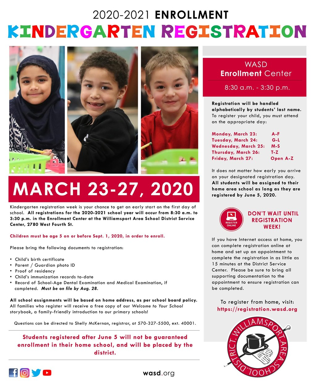 Kindergarten registration poster.