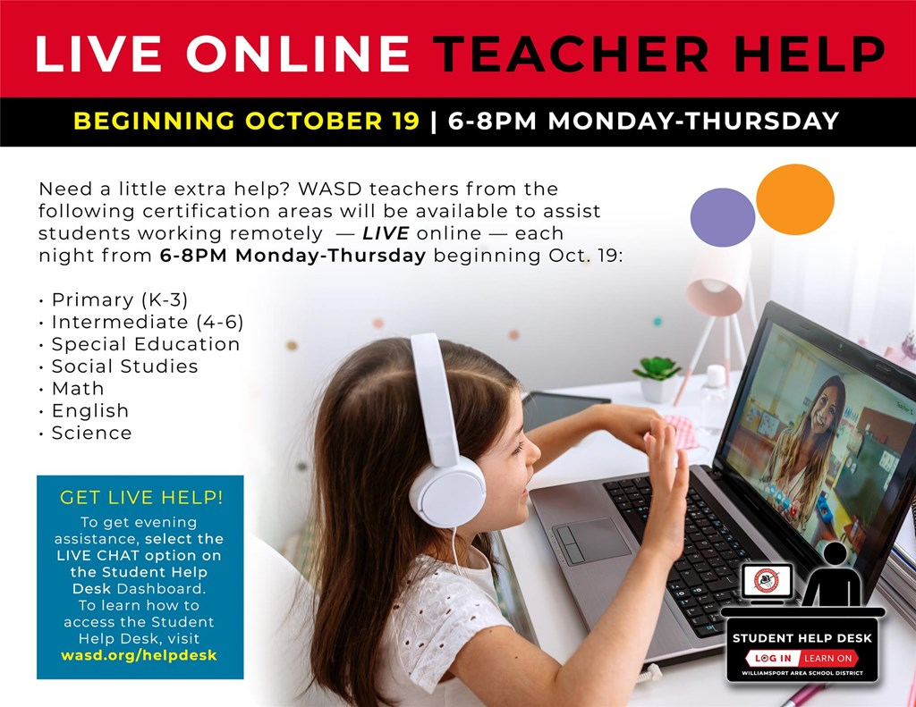 Graphic that depicts the Live Online Teacher Help option.