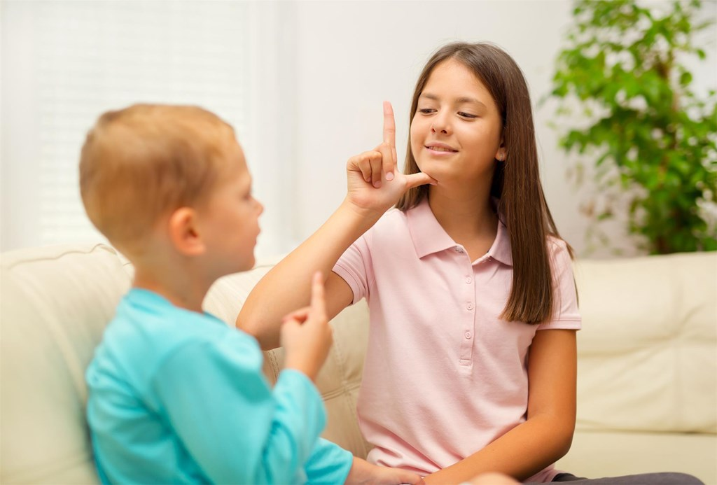Two children using sign language