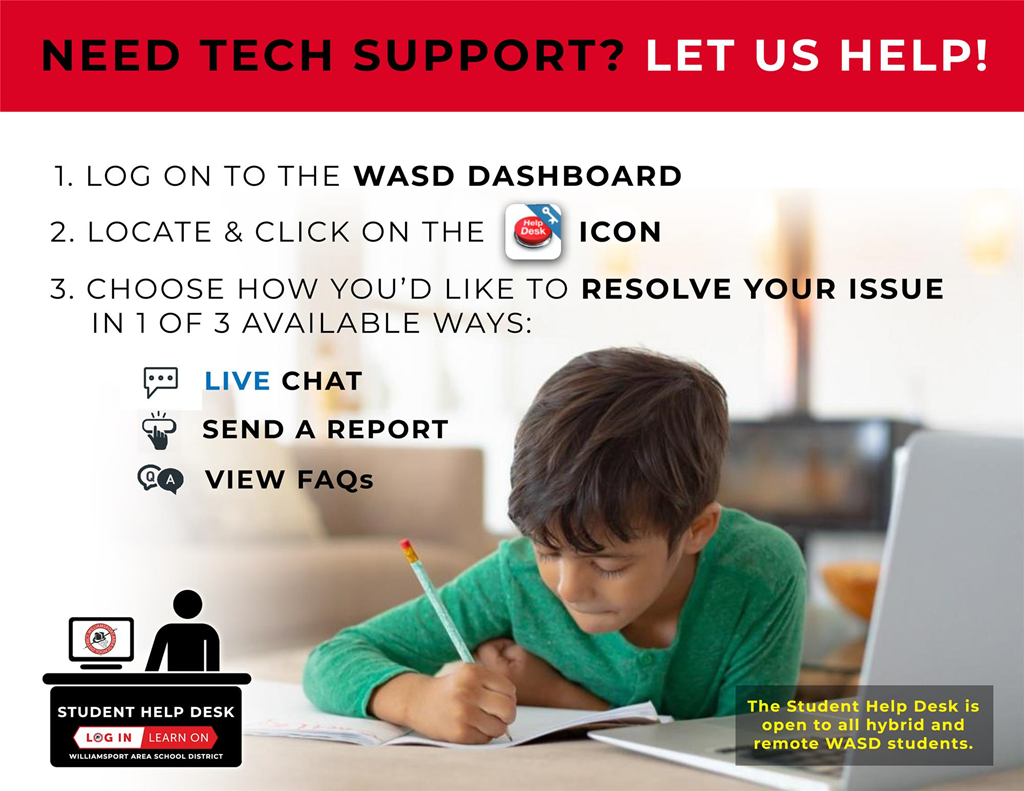 Graphic of how to access tech support.