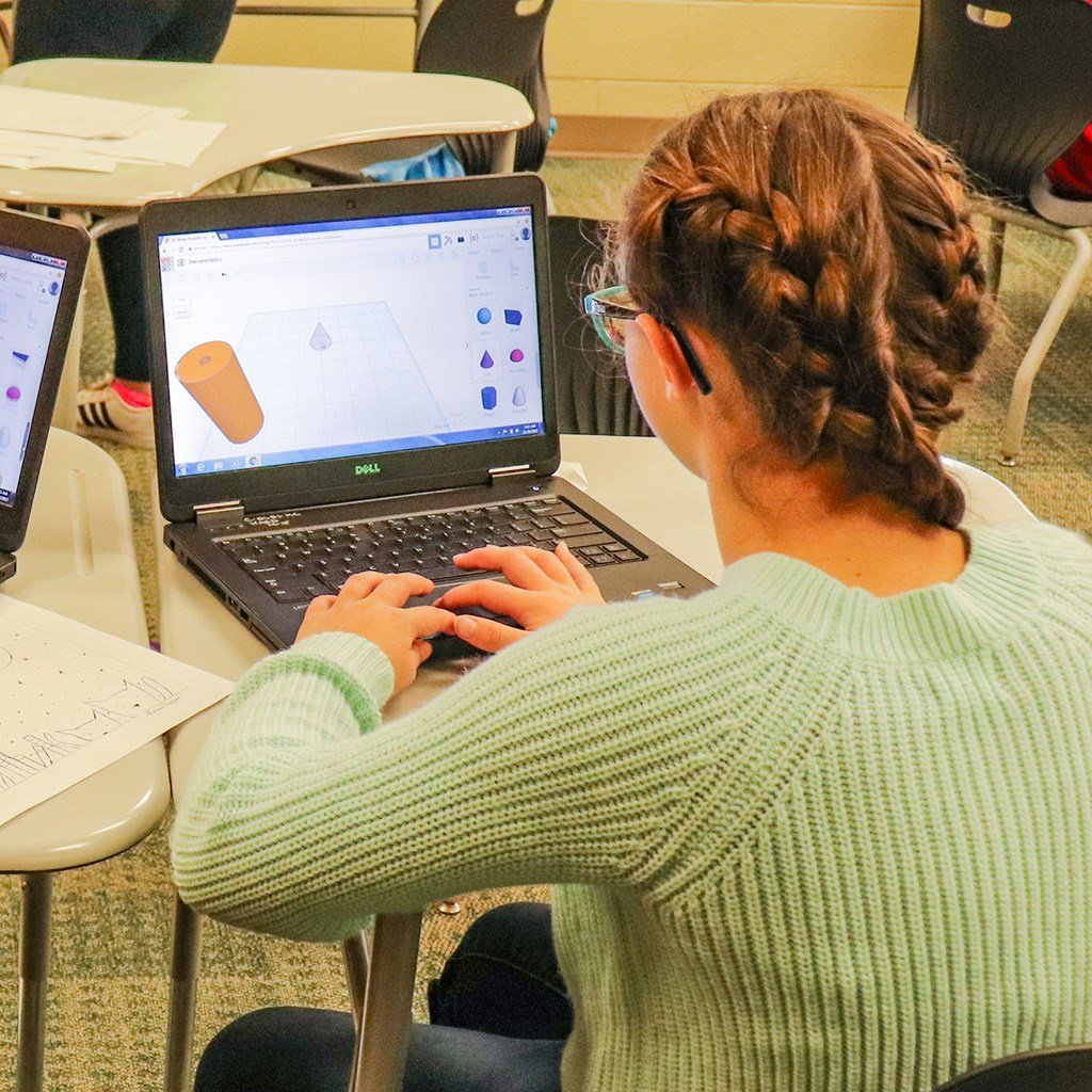 Teen working with 3D software